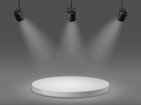 Podium with spotlights. Empty illuminated pedestal, 3d platform for ceremony award round show scene with studio simple projectors vector mockup