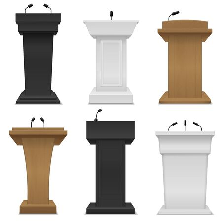 Tribune podium. Different color rostrums with microphones for business presentation public seminar, conference speech, public debate place for speakers vector set Ilustrace