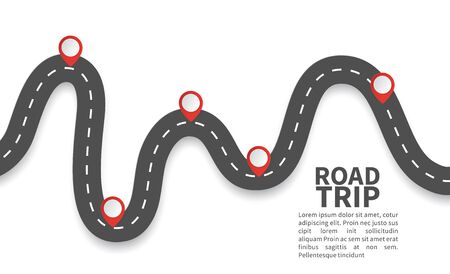 Road with red pins. Navigating, milestone timeline 3d map maps roads vector roadway graphic illustrations location checkpoint graph
