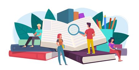 Students. Young people readers sitting, lying on giant books stack, students study, read and gain knowledge. Education vector concept of digital library
