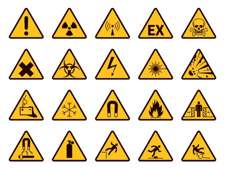 Warning signs. Yellow triangle alerts symbols, attention chemical, flammable and radiation danger, accident exclamation safety caution vector icons