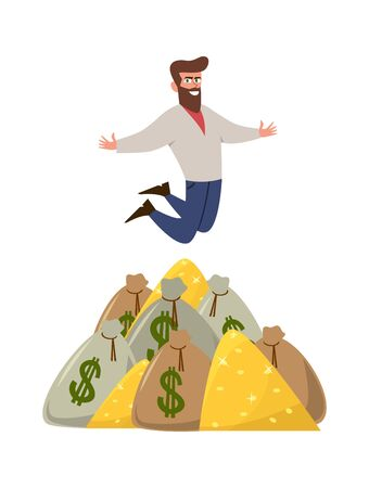 Rich banker. Isolated happy man or profitable trader on finance cash money stack vector flat image