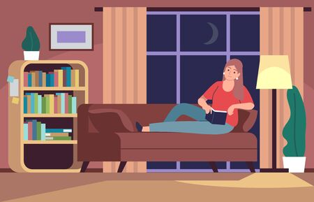 Woman reading in couch. Young wearing sweater girl in bedroom reads book under light lamp on sofa, relaxing home rest flat vector concept