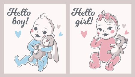 Baby shower. Babies boy and girl greeting card birthday announcement, welcome daughter and son newborn party, cartoon vector kid invitation card set