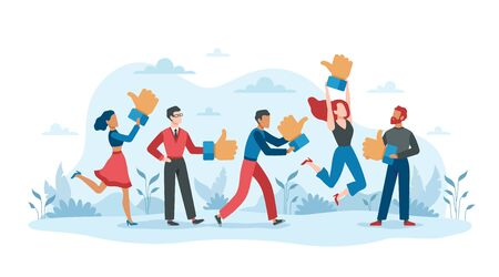 Customers review. People with thumb up icons positive rate business service online, client of businessservices experience feedback survey vector concept Ilustrace