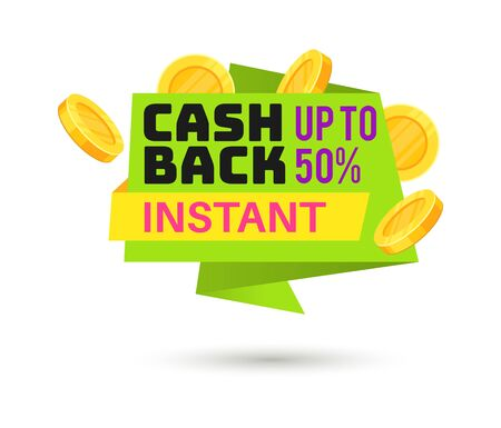 Cashback label. Symbol of sale shopping tag and saving coin money label vector sticker design