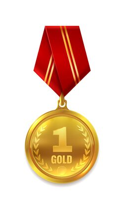 First place. Prize or award for success and winning with red ribbon isolated vector golden trophy medal Ilustração