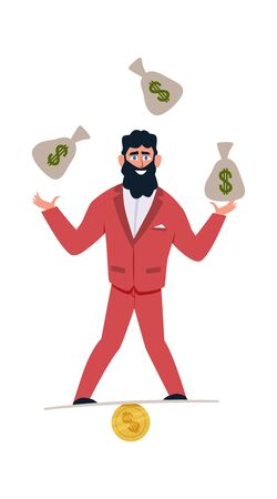Millionaire character. Businessman with coins and money or commerce profit investment of banker cartoon vector rich man