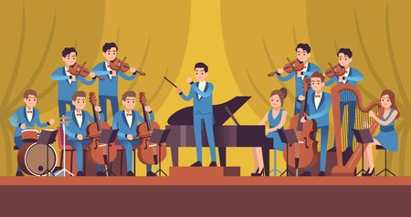 Symphony Orchestra. Classical music concert, conductor and musicians with instruments violin, flute and cello, trumpet and harp vector entertainment concept Ilustrace