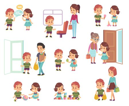 Kids good manners. Polite children in different situations, little boys and girls helping adults, respect elderly cartoon vector etiquette characters