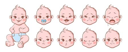 Baby emotions. Cute children emotions laughing and crying, smiling and angry. Baby, newborn portrait face emoji, vector different expression of characters set