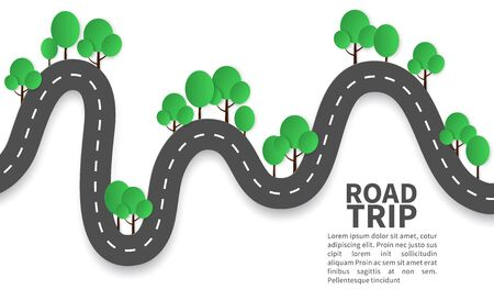 Paper road. Road landscape with trees origami style, beautiful nature family tourism happy weekend, craft highway design vector journey concept Ilustrace