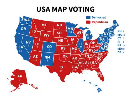 Usa map voting. Presidential election map each state american electoral votes showing united republicans or democrats political vector infographic