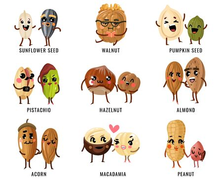 Cartoon nuts. Smiling funny characters with faces nut pecan and almond, macadamia and pistachios, peanut. Hazelnut, walnut, cashew vector food set
