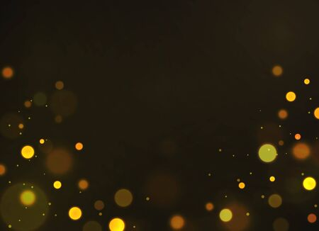 Golden bokeh. Shiny defocused gold bokeh lights shimmering soft glowing sparkles bubbles for decor card, dark blurred flyer or voucher vector template