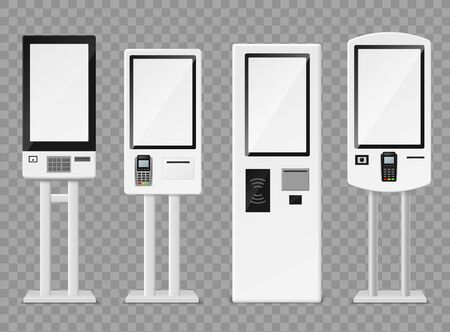 Self-ordering kiosk. Floor standing and wall interactive kiosks, terminal self payment for fast food retailers chains vector service machine mockups