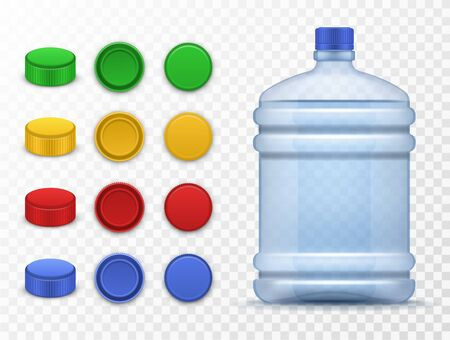 Plastic bottles and caps. Pack for drink, containers storage liquid, large bottle with water and colorful caps 3d template vector mockups Ilustrace