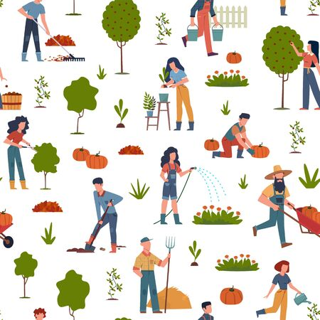People gardening. Seamless pattern with farmers collecting seasonal ripe fruits and vegetables, harvesting using garden tools, rural vector print