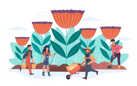 Gardener. Men and women studying plants in nature, growing flower and look after garden, ecology environment, horticulture vector landscaping service concept Ilustrace