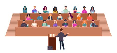 Students in lecture hall. Learning process in university, students and teacher in auditorium, professor in seminar, education vector studying concept