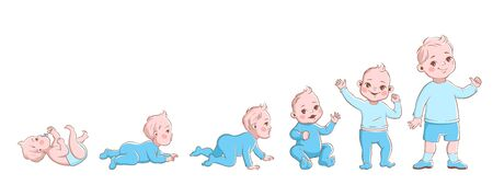Baby growth process. Life cycle stages development, child from newborn to preschool. Boy crawling, sitting and going, vector cartoon first year characters Ilustração