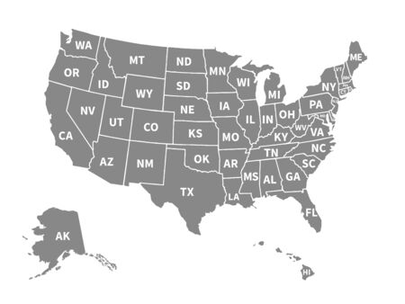 Usa map. Infographic us map with grey states and pins, topographic info outline road, travel poster vote vector election president