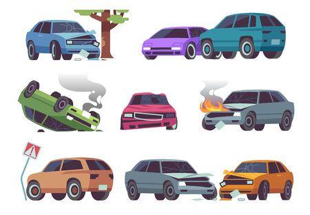Car accident. Damaged vehicle on road, auto crash, cars collision. Traffic, transportation service insurance claim auto damage vector destruction set