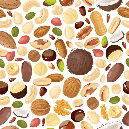 Nuts seamless pattern. Pecan and almond, macadamia and pistachios, peanut and cashew, hazelnut and walnut, brazil nut vector colorful texture 向量圖像