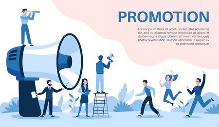 Promotion with megaphone. Big loudspeaker, promoter speaks people, attracts investors and businessmen, social media marketing vector online business concept