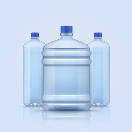 Water bottles. Empty plastic transparent containers bottle for clean different liquids and size, beverages service delivery water vector background