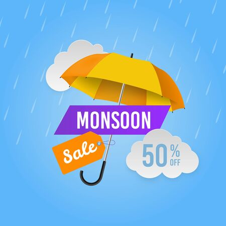 Monsoon sale. Season promotional offers, shop banner. Web header design with umbrella and raindrops advertise discount vector poster with rainy weather