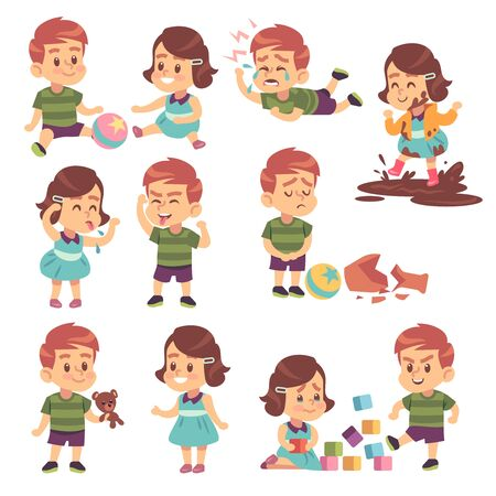 Good and bad kids. Playing peacefully and fighting, naughty and obedient children, conflict and funny boys and girls isolated cartoon vector child characters