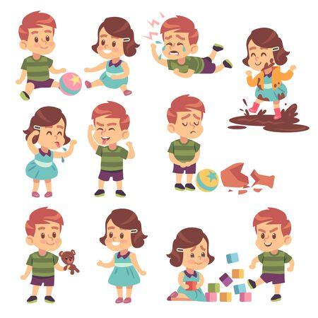 Gute und böse Kinder. Friedlich spielen und kämpfen, ungezogene und gehorsame Kinder, Konflikte und lustige Jungen und Mädchen isolierte Cartoon-Vektor-Kinderfiguren Vektorgrafik