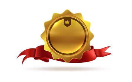 Gold medal. Victory orden or best winner trophy isolated vector template of champion award with red ribbon