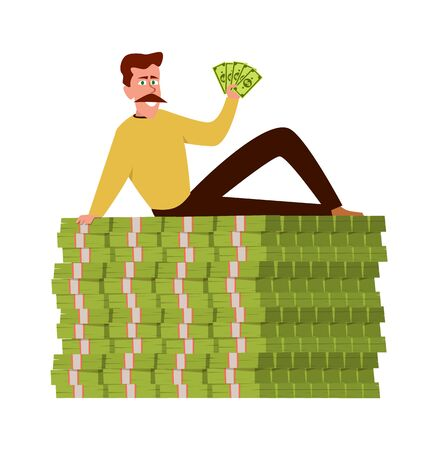 Rich guy. Happy wealthy businessman sitting on stack of money, vector finance cash pile with man