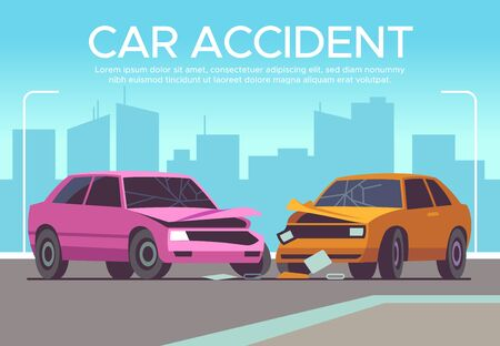 Car accident. Traffic collision on crossroads, drivers waiting police, damaged vehicle. Crash, insurance claim auto damage vector driving concept