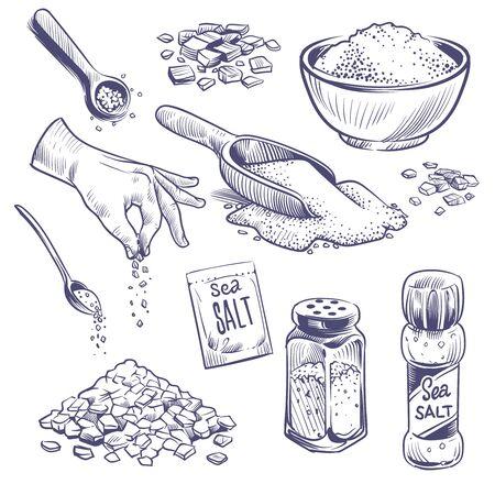 Sketch sea salt. Hand drawn spice, seasoning packaging. Glass bottles with salt powder, salting crystals vintage engraved vector kitchenware set