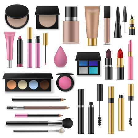 Makeup cosmetics tools. Professional accessory for decorative cosmetics. Different realistic brushes makeup artist, fashion lipsticks vector set
