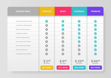 Pricing tab. Comparison pricing list, services cost table. Menu planning compare products with tariff plans in column infographics vector template Vecteurs
