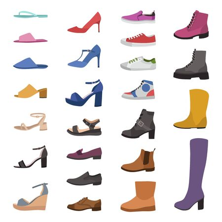 Shoes and boots. Various types footwear, mens, womens and childrens trendy casual, stylish elegant and formal shoe accessory cartoon vector set