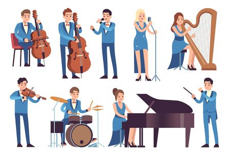 Classic musicians. Singers performing, symphony concert with orchestra instruments cello, piano and clarinet vector jazz and classical characters