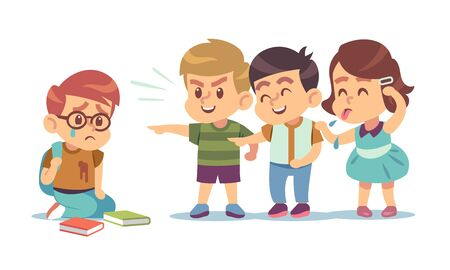 Kids bullying. Humiliation, mocking classmates. Discrimination, abuse and negative school communication social teenage conflict flat vector concept