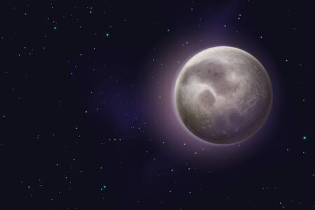 Moon background. Realistic night starry sky with waxing moon, new phases full lunar cycle astrology. Cosmic galaxy astronomy vector illustration