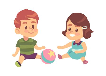 Boy and girl play together. Cute little children with ball sitting on the floor isolated vector cartoon game characters