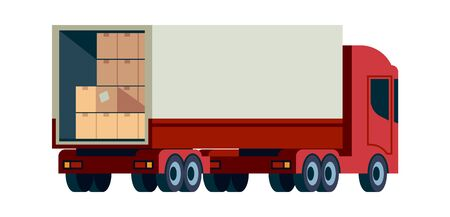 Delivery cargo truck. Loading transport with pallet vector flat carriage service illustration