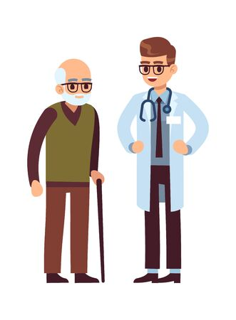 Doctor and elderly patient. Healthcare helping caring adult man, vector medicine hospital office staff Illustration