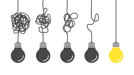 From complex to simple. Simplification streamlining process, complex confusion, clarity idea solution with light bulbs vector complicating problem concept