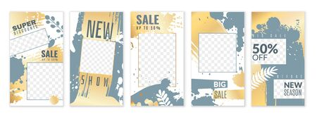 Stories. Personal blog social networks posts, trendy editable media stories, cover frame background with gold texture vector design template set
