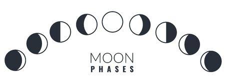 Moon phases. Different phases moon illustration, waxing crescent lunar astronomy calendar, astrology sphere cycle, realistic vector set