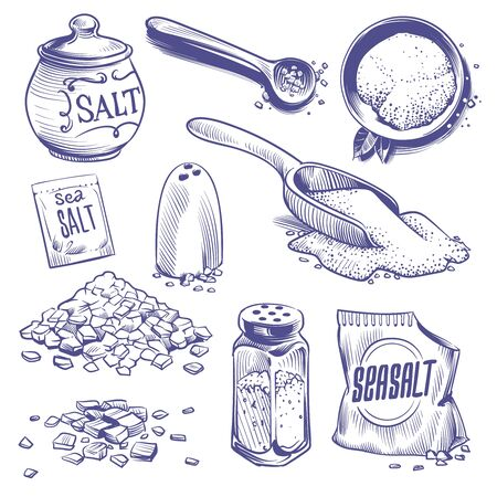 Hand drawn sea salt. Salting crystals, himalayan salt sketch. Sodium spices powder ingredient, seasoning packaging vintage vector engraved set Ilustração